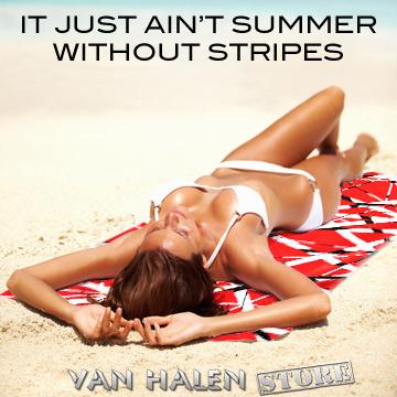 Hot babe on an EVH Stripes Beach Towel